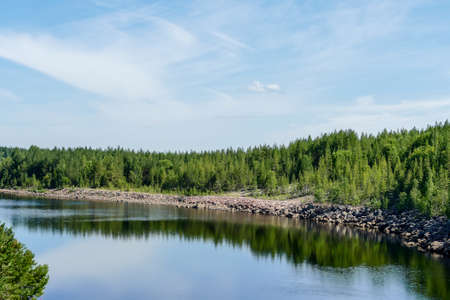 landscape with lake and blue sky, in Norway Scandinavia North Europe , taken in nordkapp, europe Stockfoto
