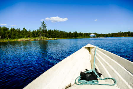 boat on lake, beautiful photo digital picture, in Sweden Scandinavia North Europe Stockfoto