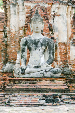 Beautiful photo of Ayutthaya Wat Temple ruin taken in thailand