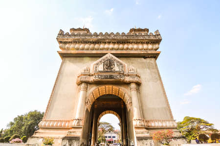 Beautiful photo of triomphe arc in vientiane laos, Asia
