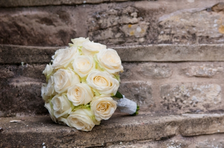 church group: Wedding bouquet of roses.