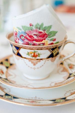 Elegant and detailed vintage wedding tea set  photo