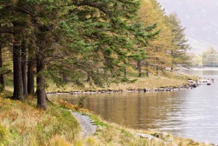 quiet scenery: Butteremere walk along lake.