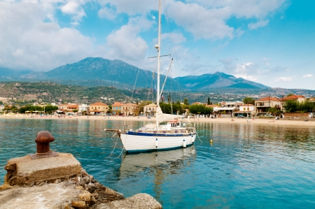 kalamata: Calm and relaxed yacht moored in Stoupa beach