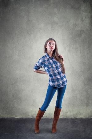 preoccupation: Beautiful girl thinking Stock Photo