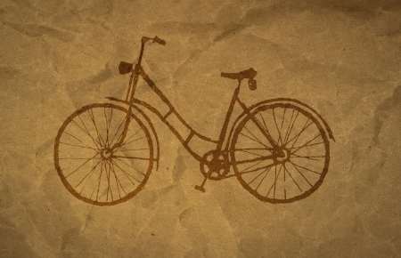 textur: wrinkled paper craft textur, bicycle Stock Photo
