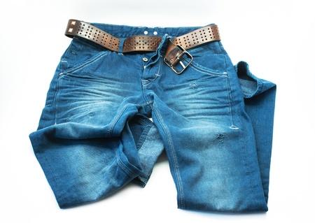 trouser: Blue jeans trouser on white