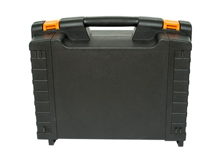closed box: plastic toolbox on white background