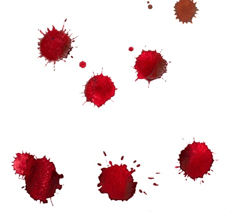 blood smear: Red blots of watercolor paint