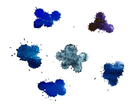 Blue blots. Watwercolor photo