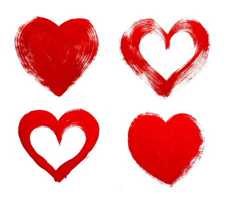 heart drawing: Red heart love. Art oil(acryl) paints. Stock Photo