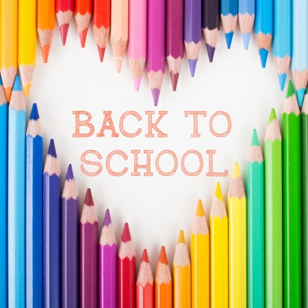 Back to school  Colour pencils  Heart shape photo