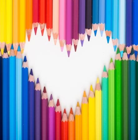 Colour pencils  Heart shape photo
