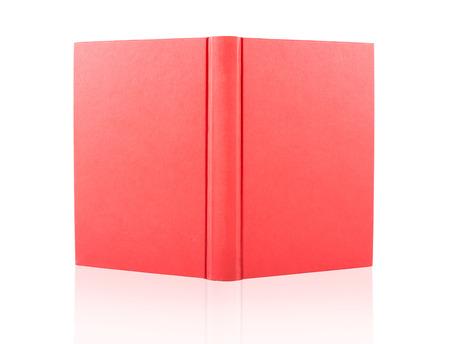 livro aberto tampa vermelha isolada no fundo branco