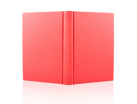 red cover opened book isolated on white background Imagens