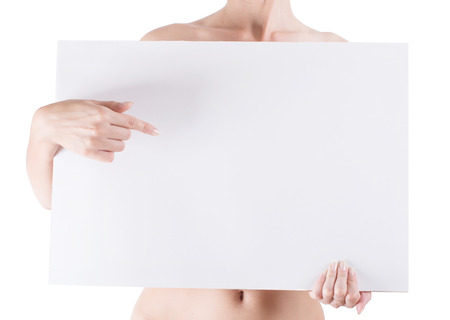 naked woman holding empty white blank board isolated on white background photo