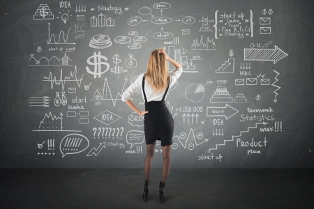 businesswoman look at Doodle finance business elements hand-drawn photo