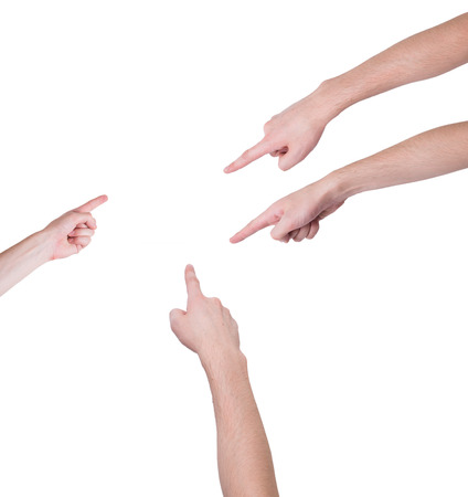 choose person: man hands on white backgrounds