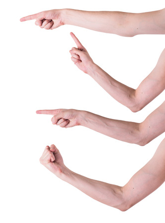 man hands on white backgrounds photo