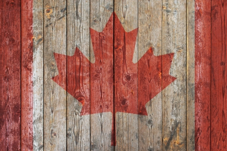 Canadian flag wooden background photo
