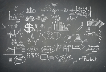 block note: Doodle finance business elements hand-drawn