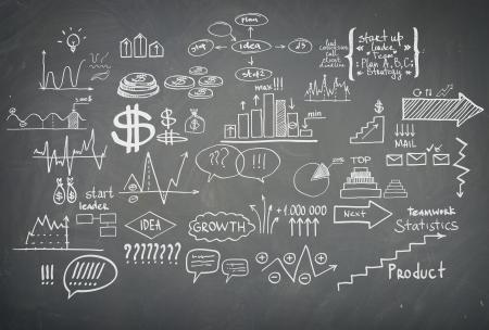 hogescholen: Doodle financiën zakelijke elementen handgetekende