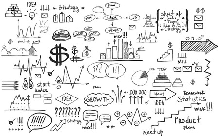 Doodle finance business elements hand-drawn photo