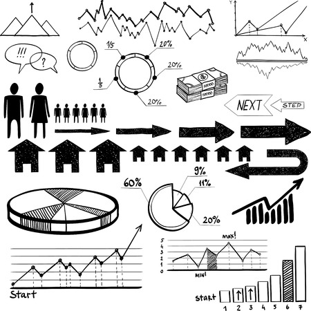 set of hand drawn business finance elements vector illustration on white background Vector