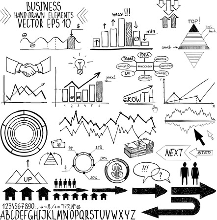 set of hand drawn business finance elements illustration