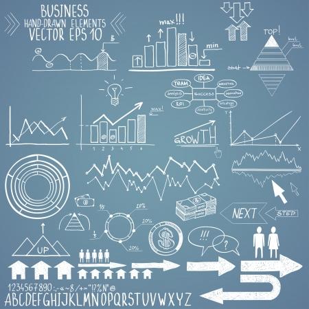 bar chart: set of hand drawn business finance elements illustration
