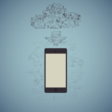 Touchscreen Smart Phone with Cloud of Media Application Icons. Vector Image Vector