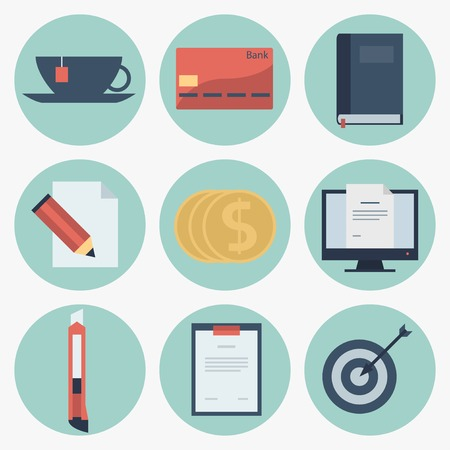Modern flat icons vector collection, web design objects, business, finance, office and marketing items. Vector