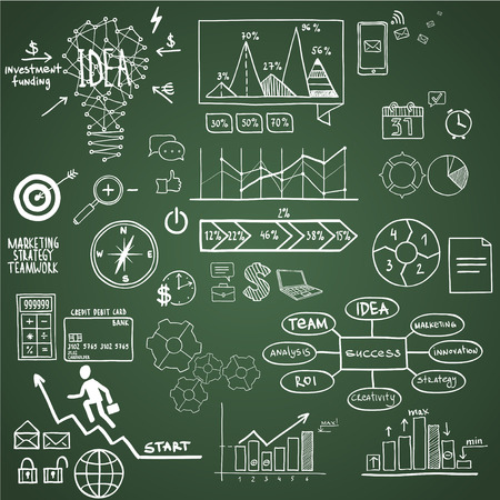 Business, finance elements and icons, doodle hand drawn Vector