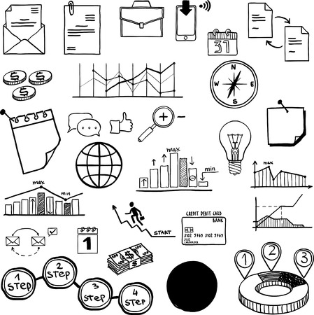Set of vector social media business, finance elements Vector