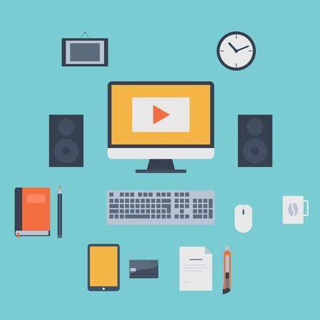 orologio da parete: Icone piane moderni di raccolta vettore, oggetti di web design, affari, finanza, ufficio e articoli di marketing.