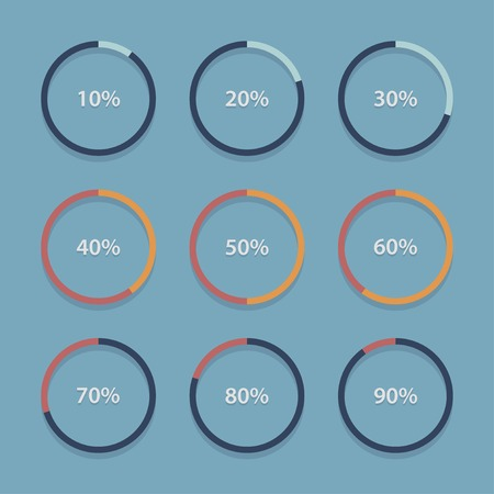 progress bar: Circle chart, graph, infographic percentage templates collection.