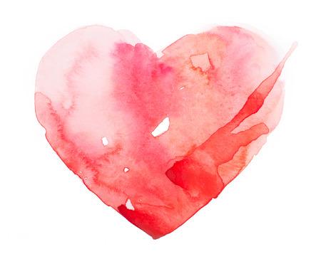 Aquarel rood hart op een witte achtergrond Stockfoto
