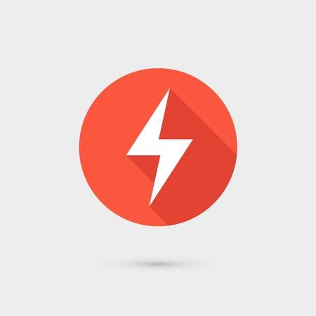 lightning arrow: Lightning icon red circle on gray background.