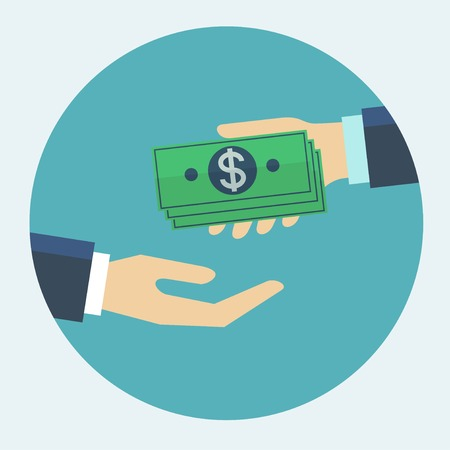 pay money: Hand giving money to other hand flat design illustration.