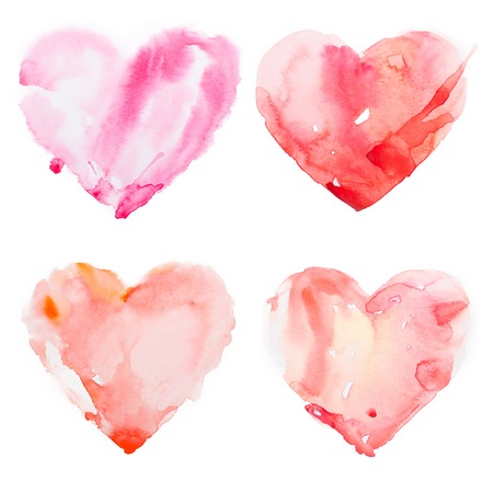 heart tone: Watercolour red heart isolated on white background