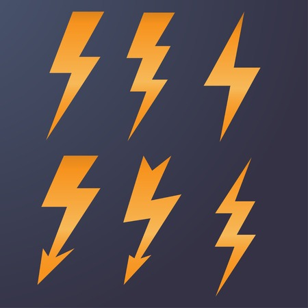 lightning bolt: Lightning icon flat design long shadows vector illustration.