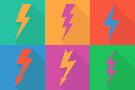 lightning: Lightning icon flat design long shadows vector illustration.