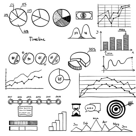 finanse: Business and finanse hand draw doodle elements graph chart timeline.