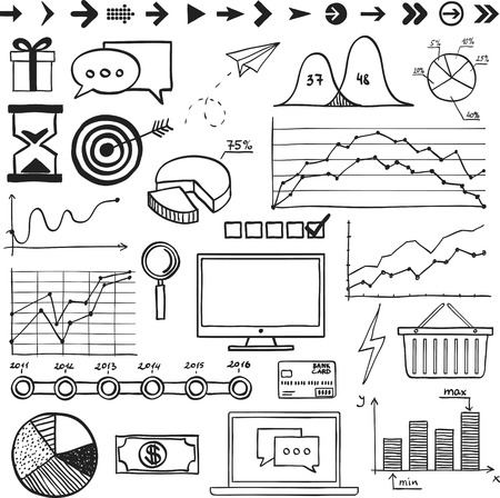 Business, finanse hand draw doodle elements graph chart and other. Vector
