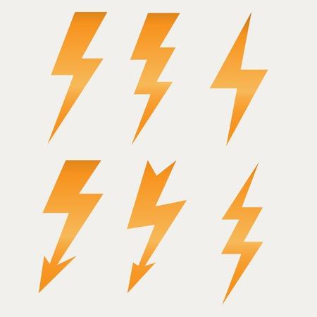 rayo electrico: Icono Rayo de dise�o plano largo ilustraci�n sombras. Vectores