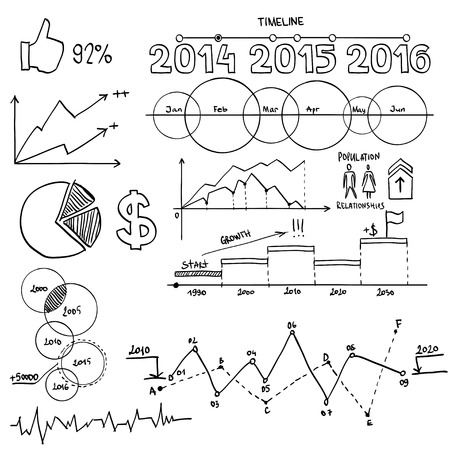 demography: Business and finanse hand draw doodle elements graph chart timeline.