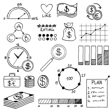 Hand draw doodle elements money and coin icon, chart graph. Concept bank business finance analytics earnings. Vector