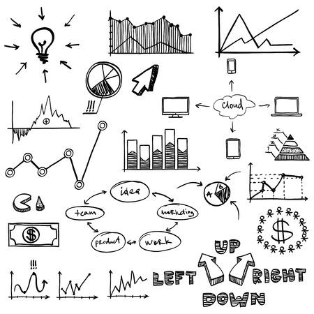 business finance doodle hand drawn elements. Concept graph, chart, pie