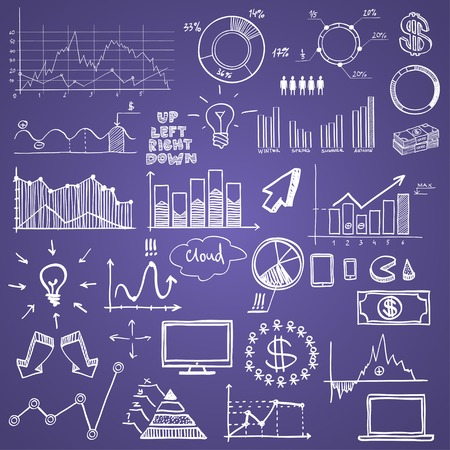 hand draw doodle charts web charts business finanse elements on chalk board. Vector