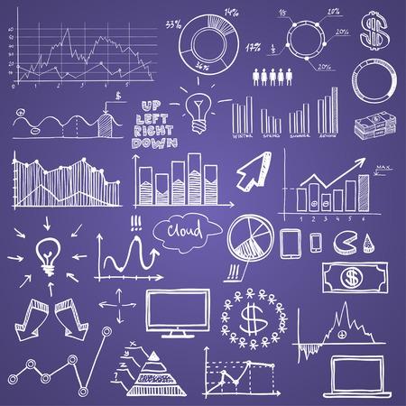 hand tekenen doodle grafieken web grafieken bedrijf finanse elementen op krijtbord. Stock Illustratie